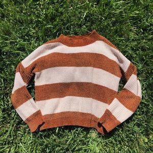 Woven Heart Striped Chenille Mock Neck Sweater